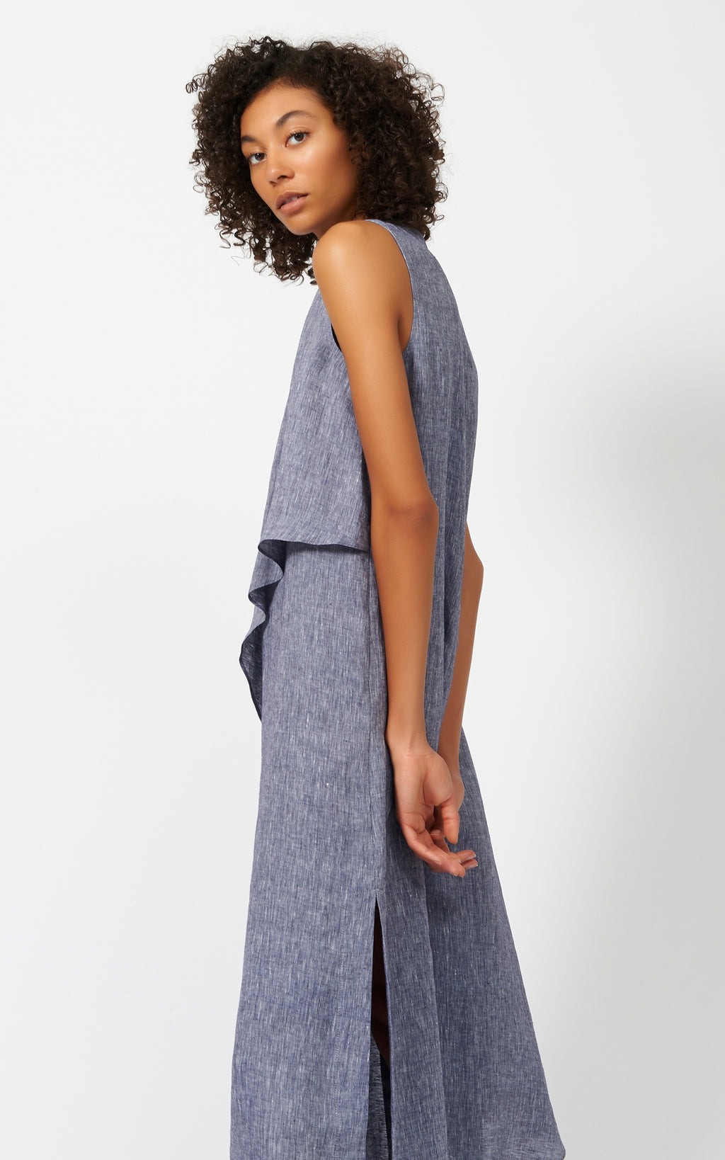DRAPE CAPE DRESS - INDIGO