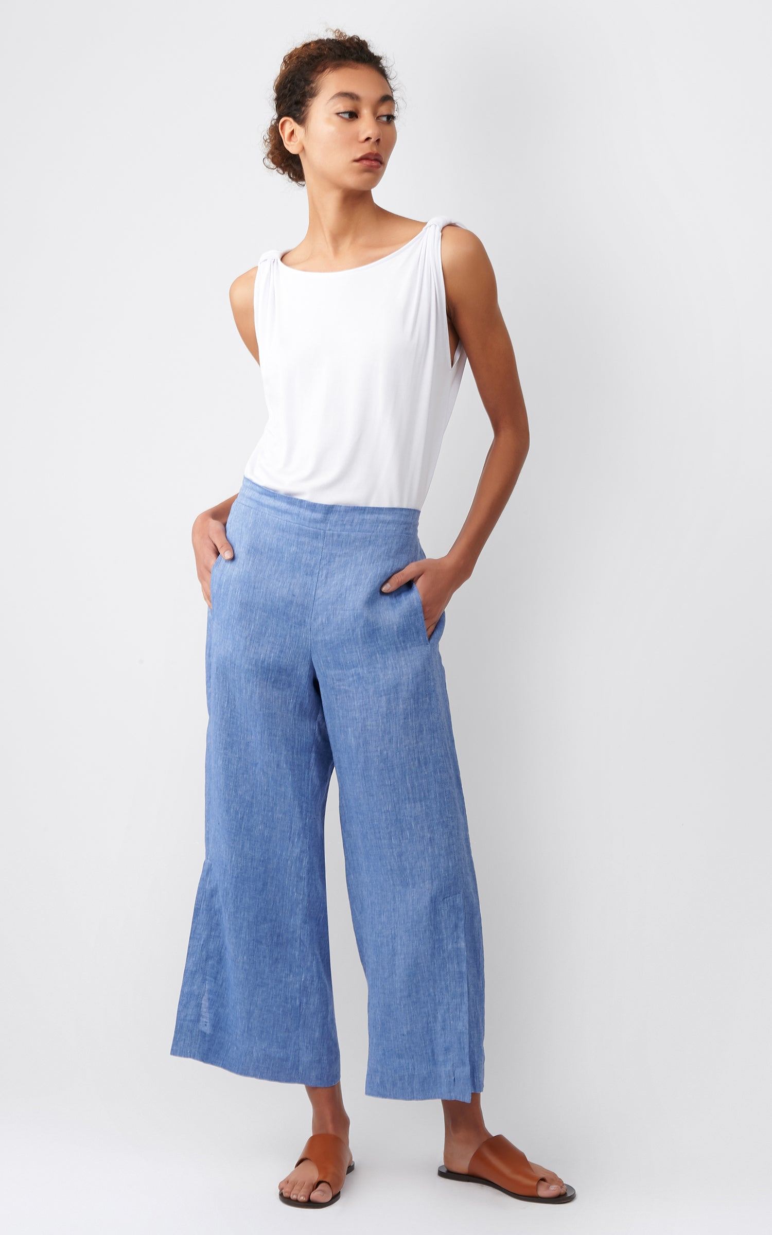 LINEN SIDE KICK PANT - BLUE