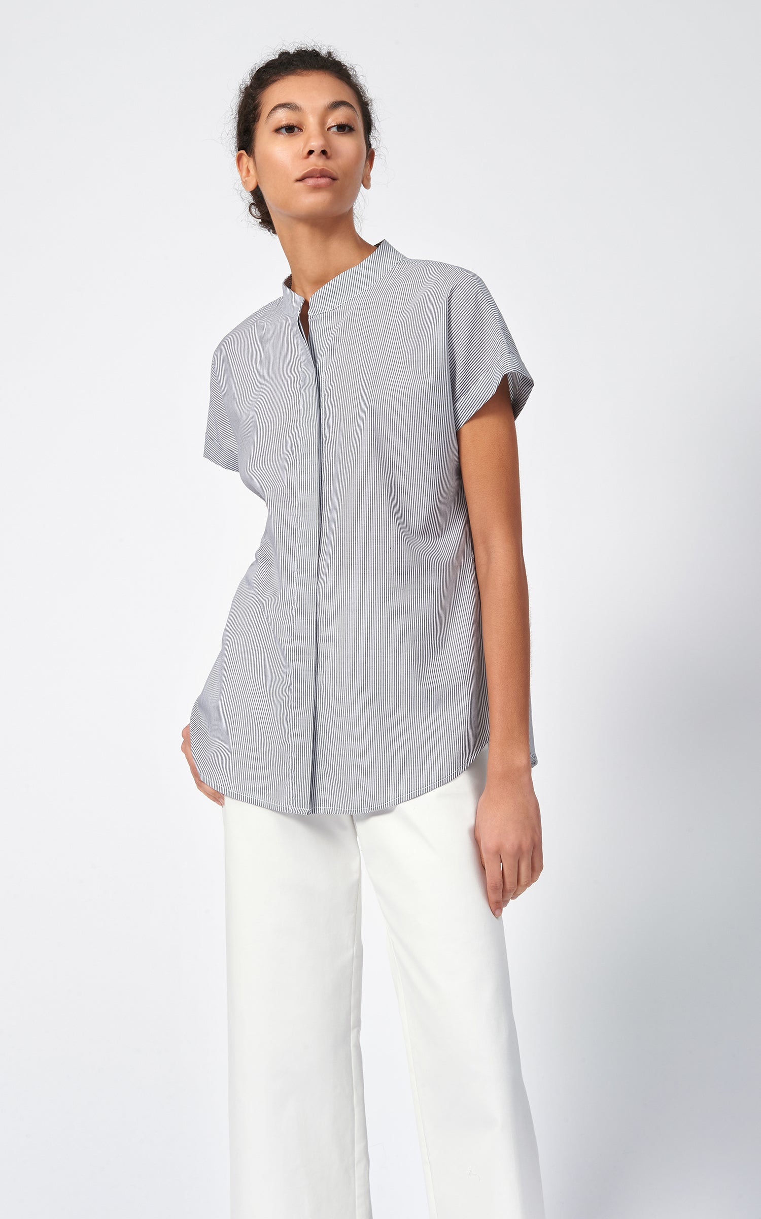 VENT BACK COLLAR SHIRT - MINI STRIPE