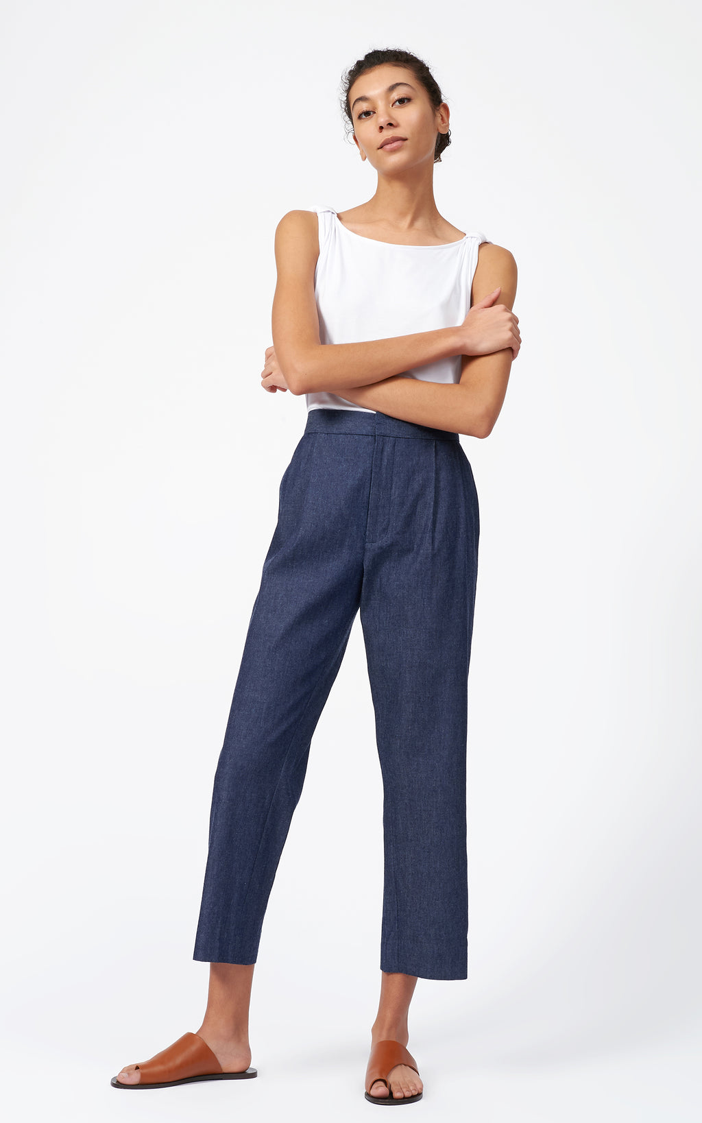 ELASTIC BACK PLEAT TROUSER - DENIM