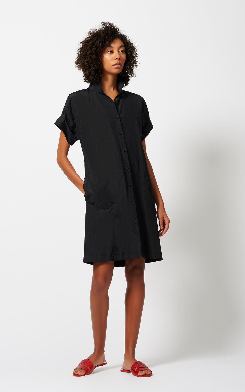 KIMONO DRESS - BLACK COTTON/NYLON