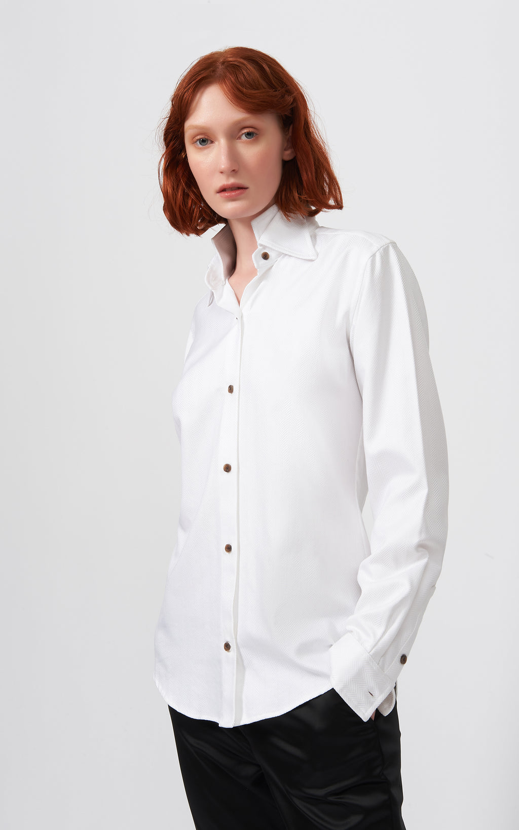DOUBLE COLLAR SHIRT - HERRINGBONE