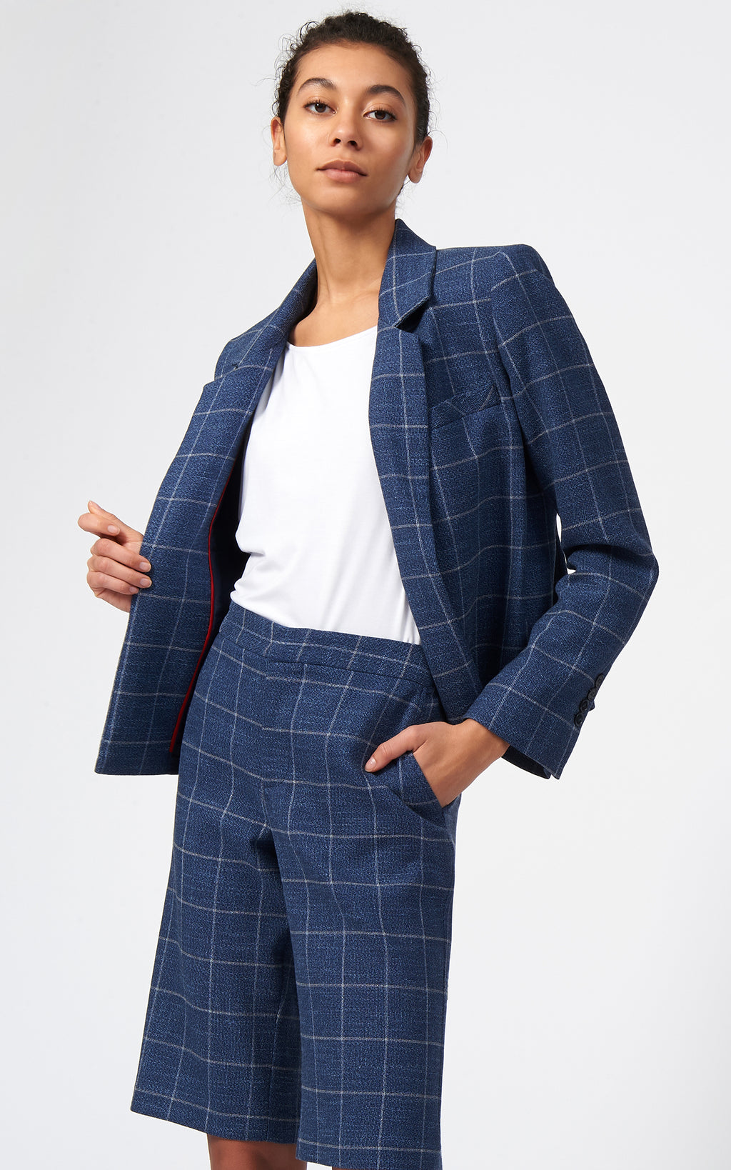 CROP TUX BLAZER - WINDOWPANE