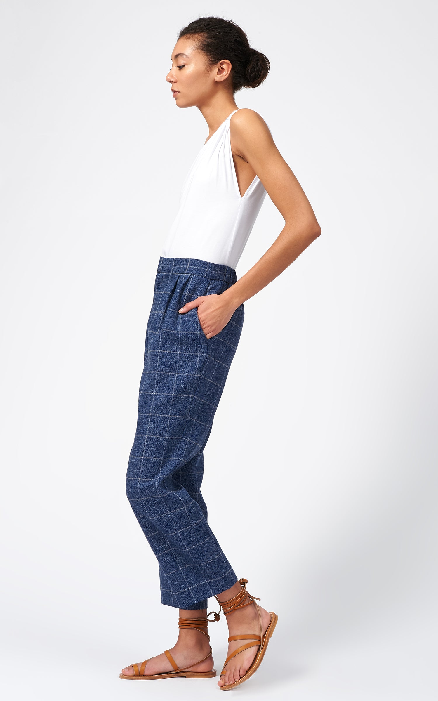 ELASTIC BACK PLEAT TROUSER - WINDOWPANE