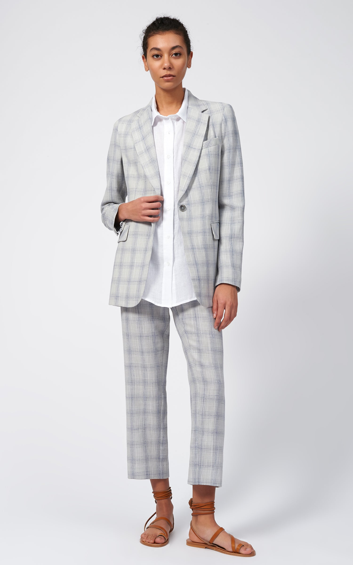 CLASSIC NOTCH BLAZER - GLEN PLAID
