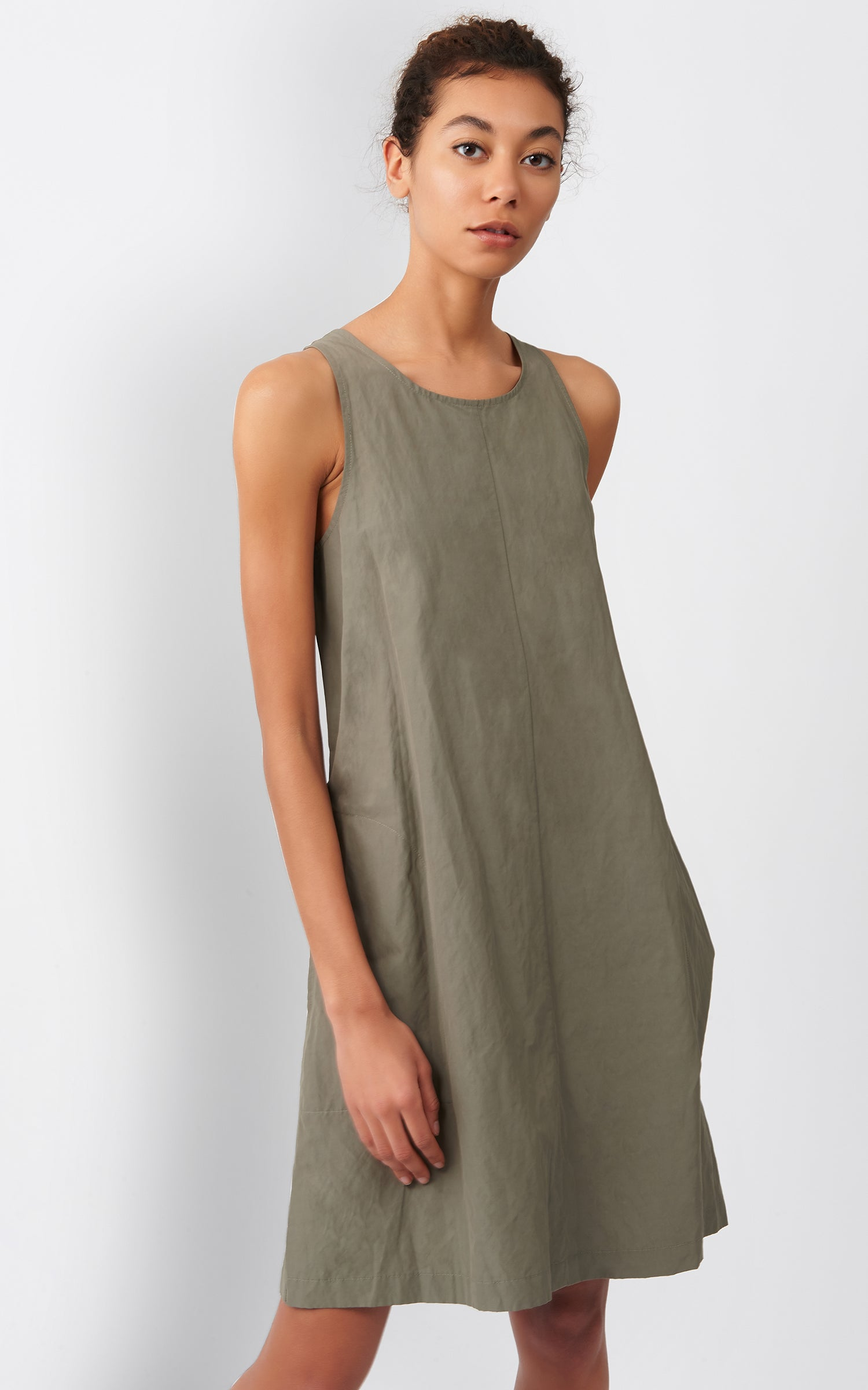 TRAPEZE DRESS - OLIVE COTTON/NYLON