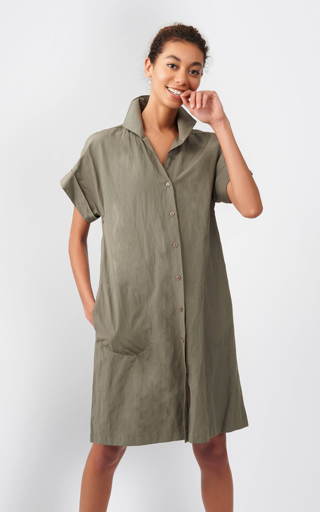 KIMONO DRESS - OLIVE COTTON/NYLON