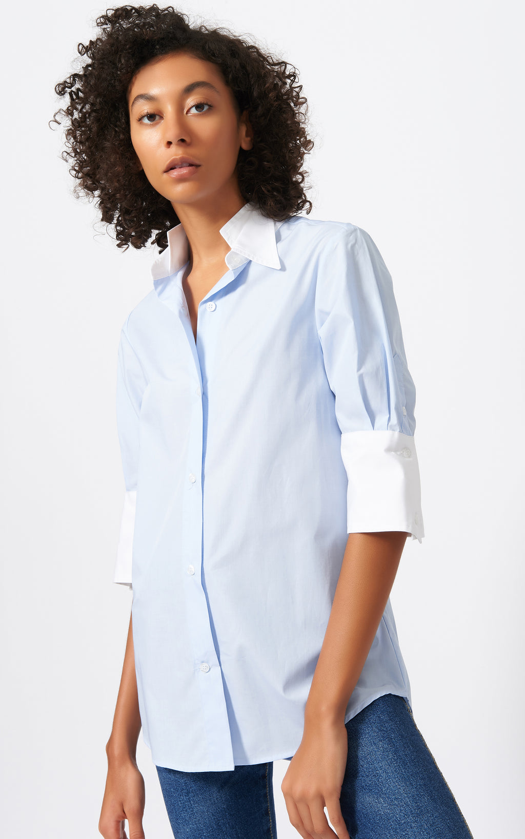 SHORT SLEEVE DOUBLE COLLAR SHIRT - OXFORD
