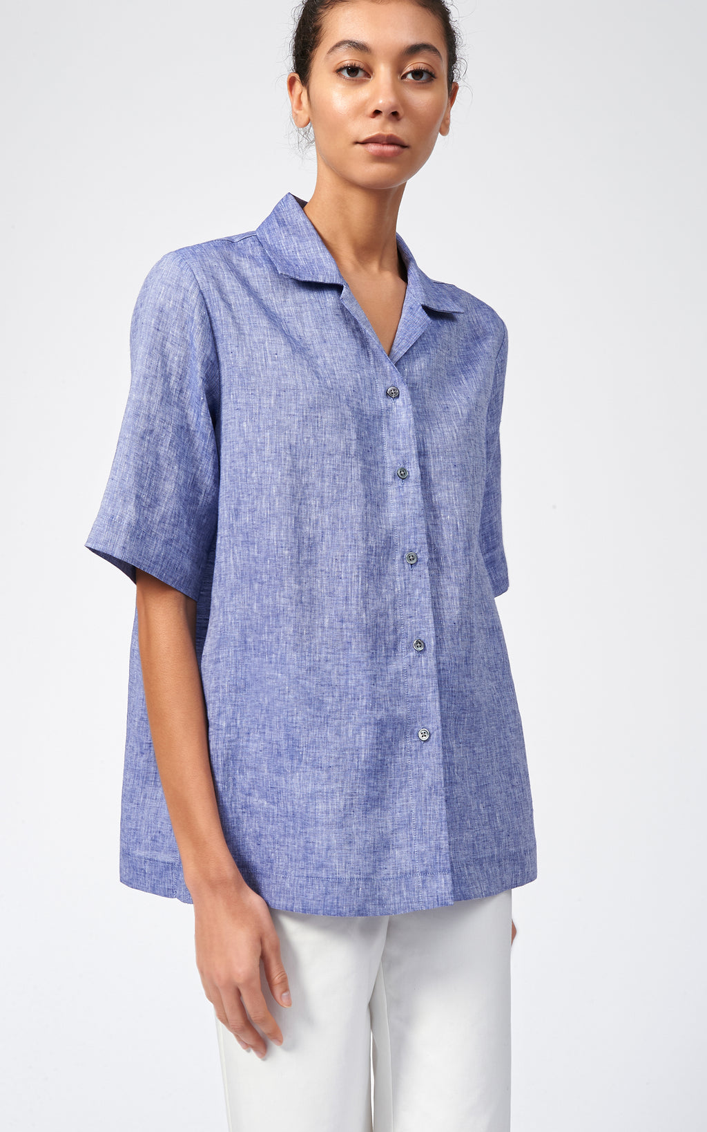 LINEN NOTCH COLLAR SHIRT - BLUE