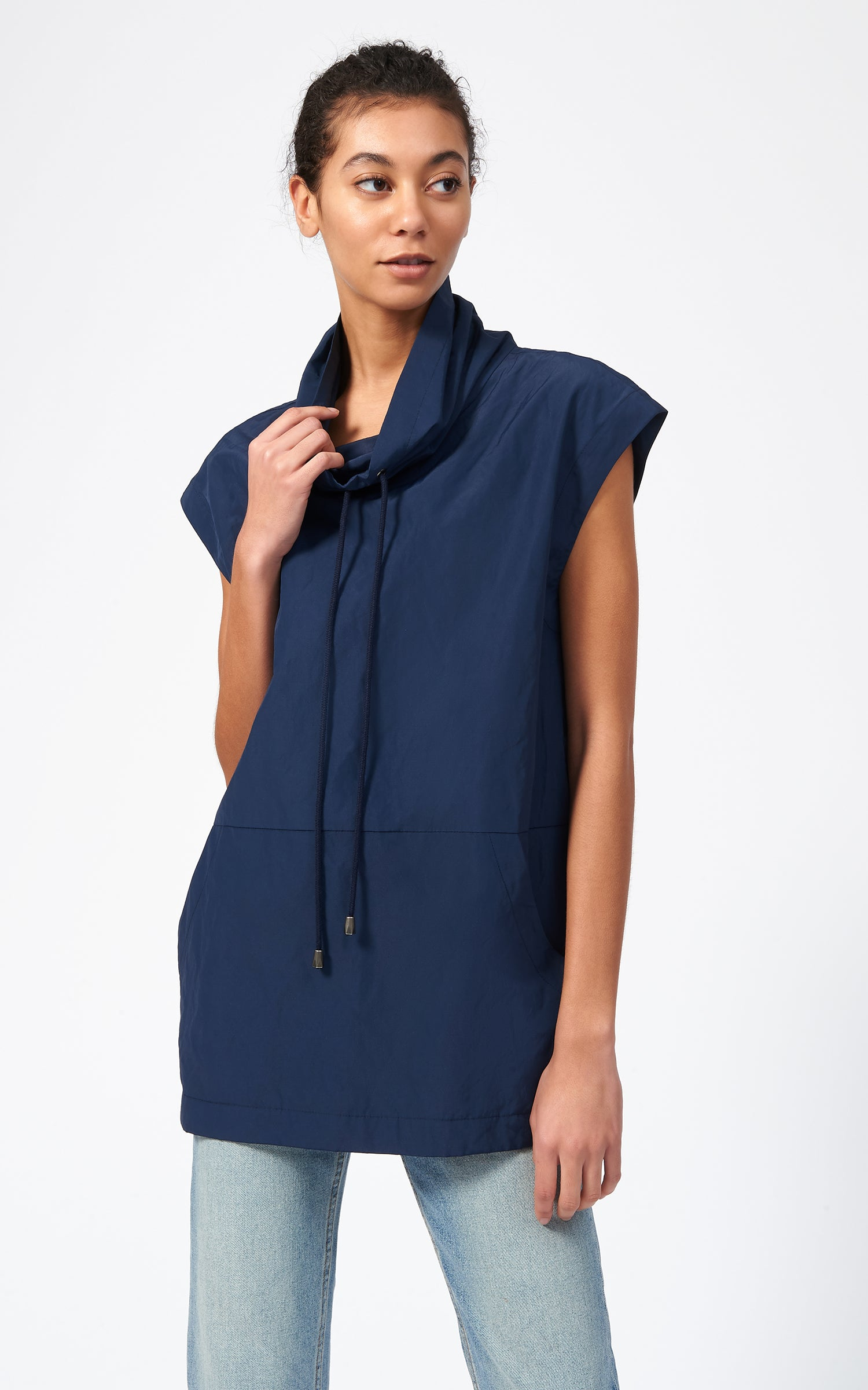 COTTON NYLON DRAWSTRING PULLOVER - NAVY