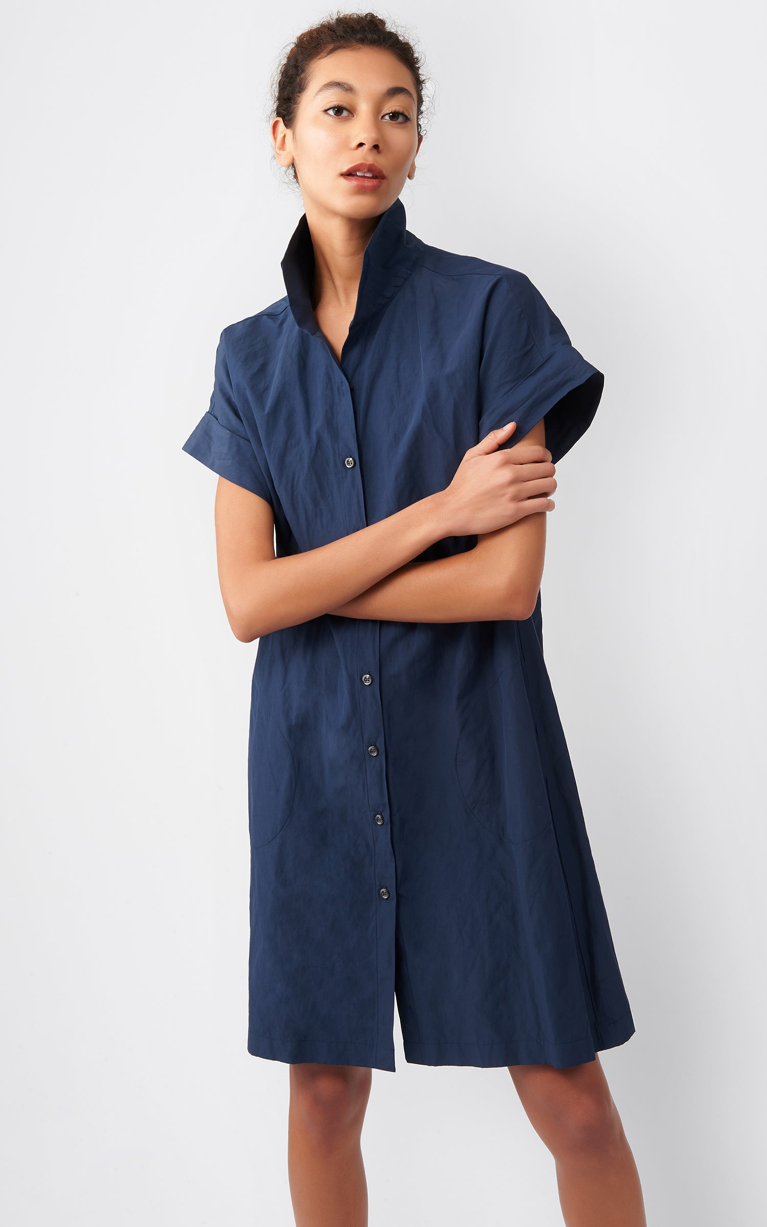 KIMONO DRESS - NAVY COTTON/NYLON
