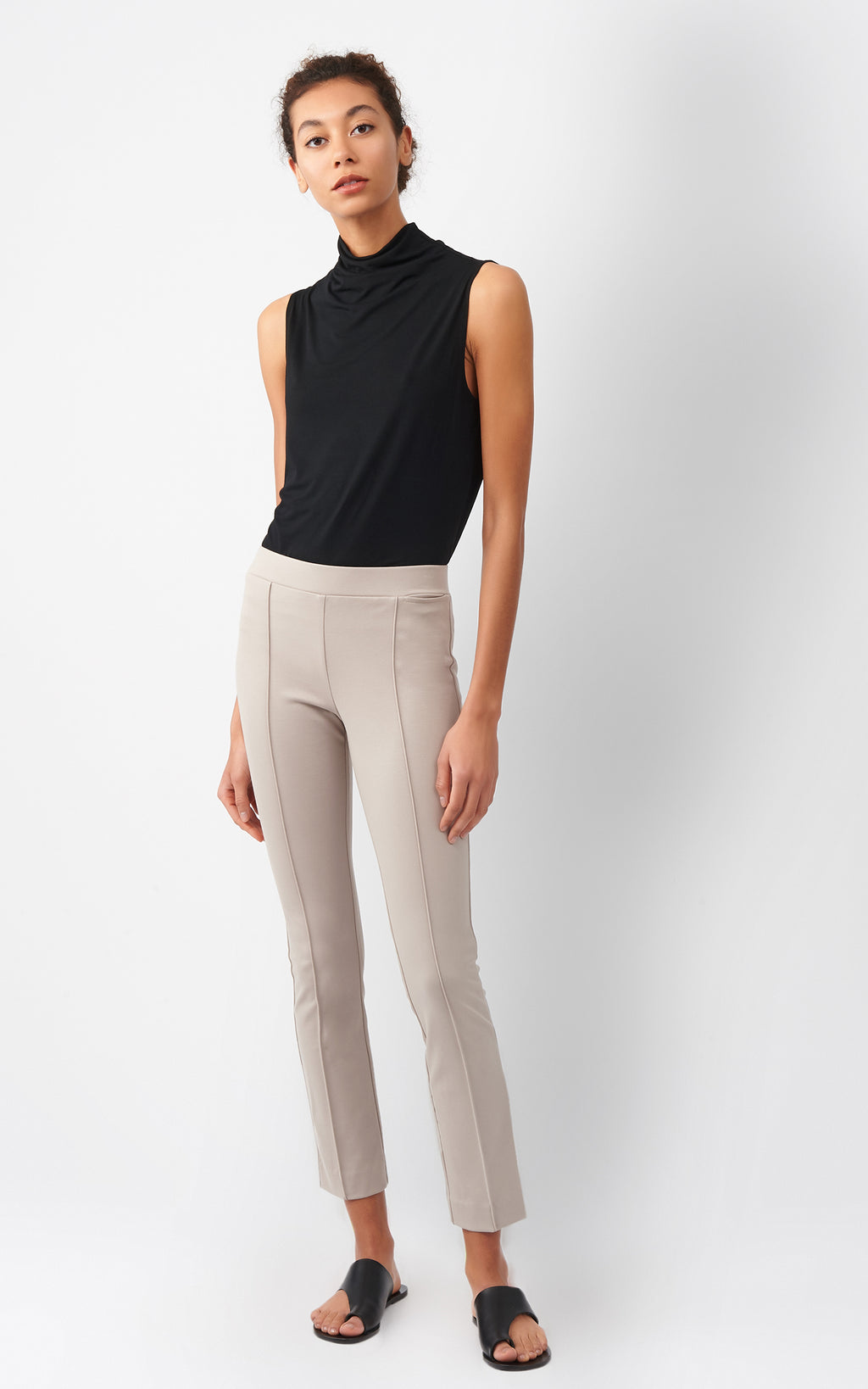 PINTUCK PONTE ANKLE PANT - TAUPE