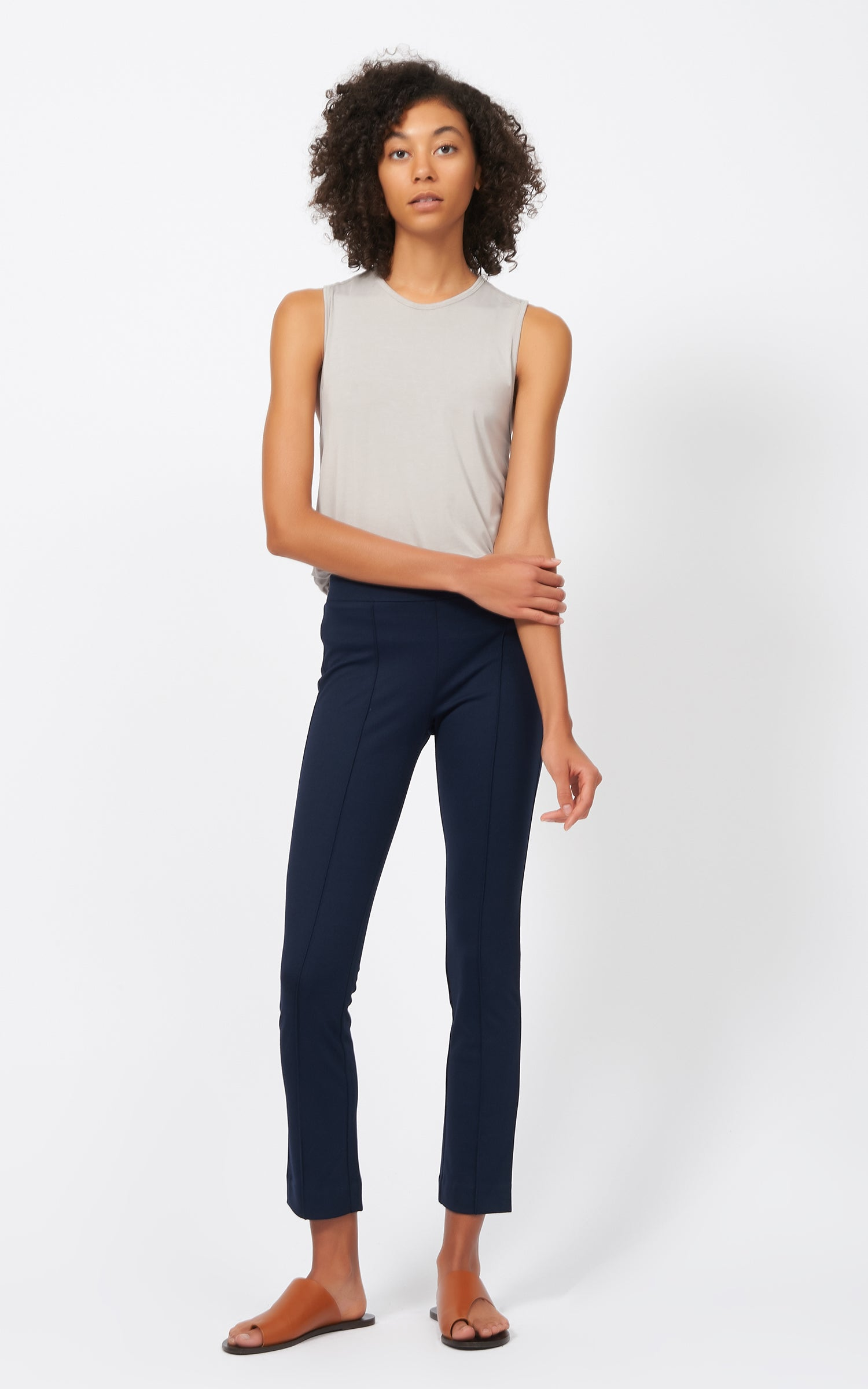 PINTUCK PONTE ANKLE PANT - NAVY
