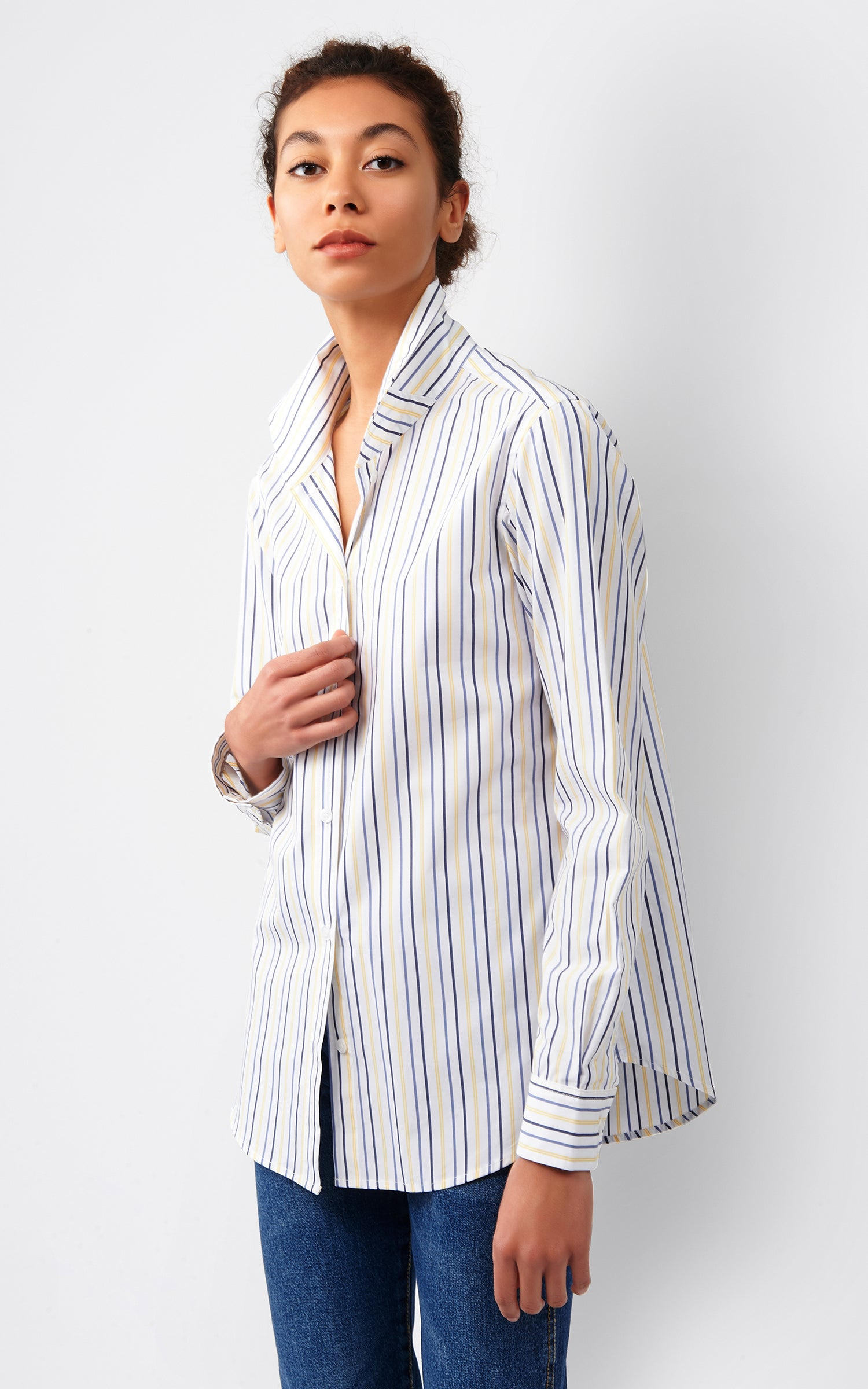 GINNA BOX PLEAT SHIRT - YELLOW MULTI STRIPE