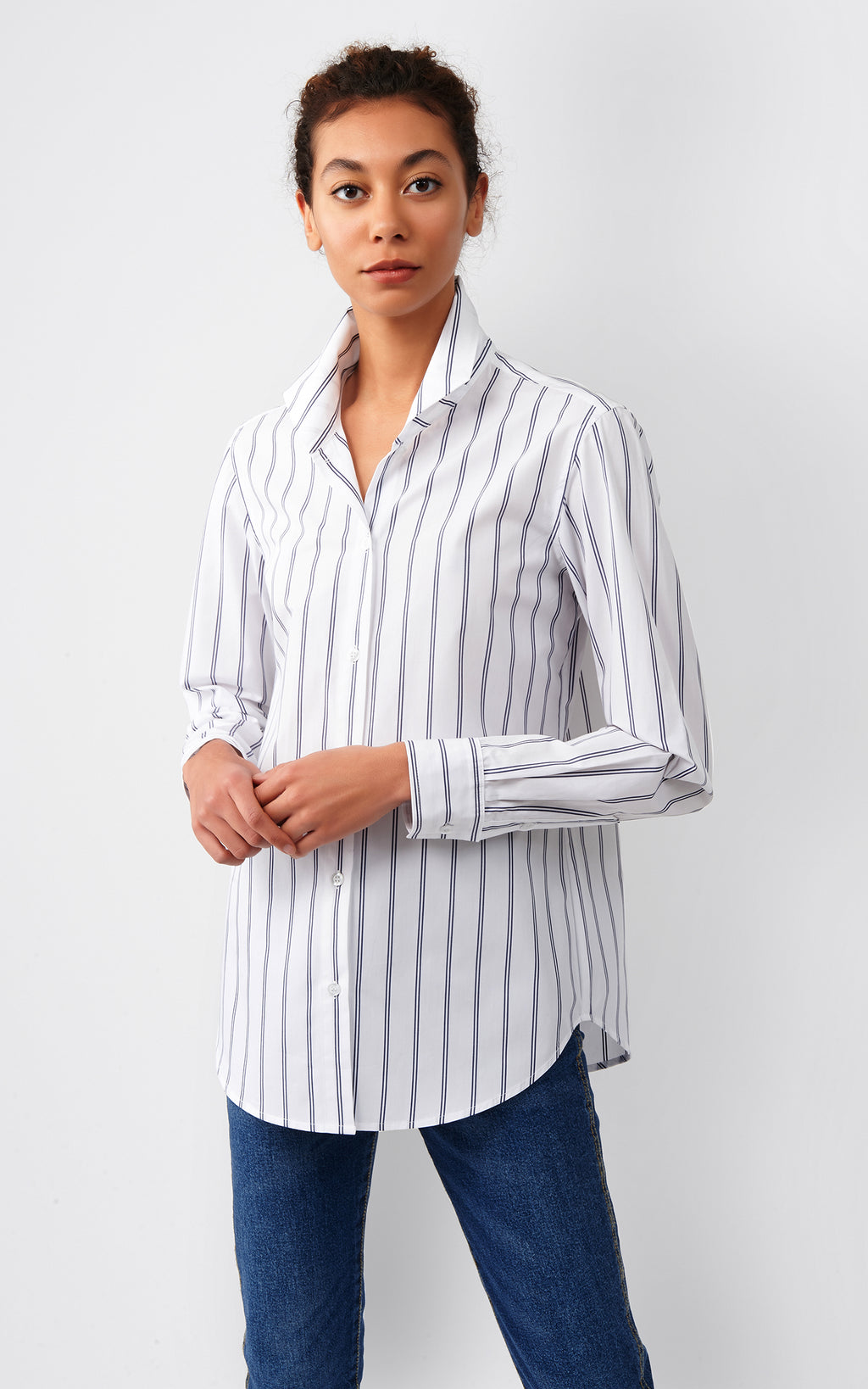 GINNA BOX PLEAT SHIRT - NAVY DOUBLE STRIPE