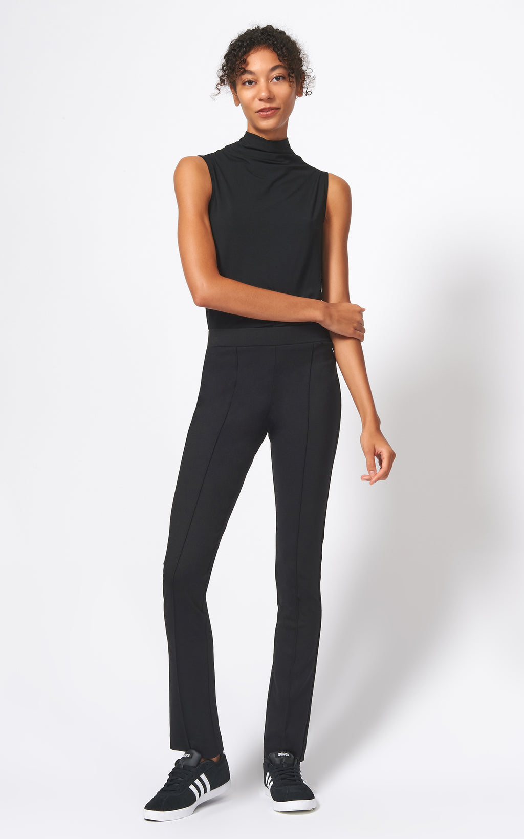PINTUCK PONTE STRAIGHT LEG PANT - BLACK