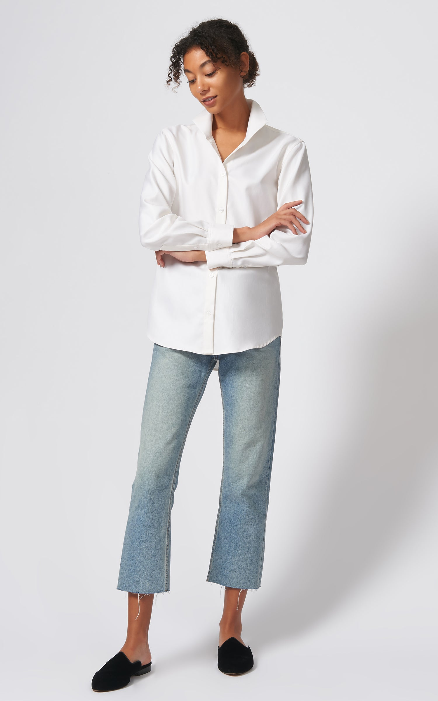 GINNA BOX PLEAT SHIRT - IVORY FINE HERRINGBONE
