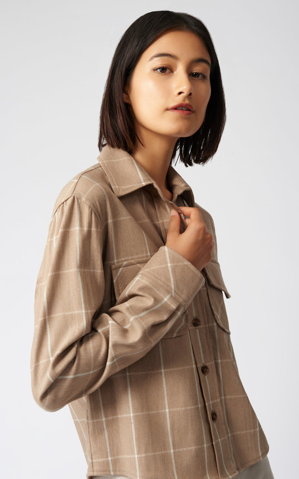 WINDOWPANE CROP TAILORED SHIRT JACKET