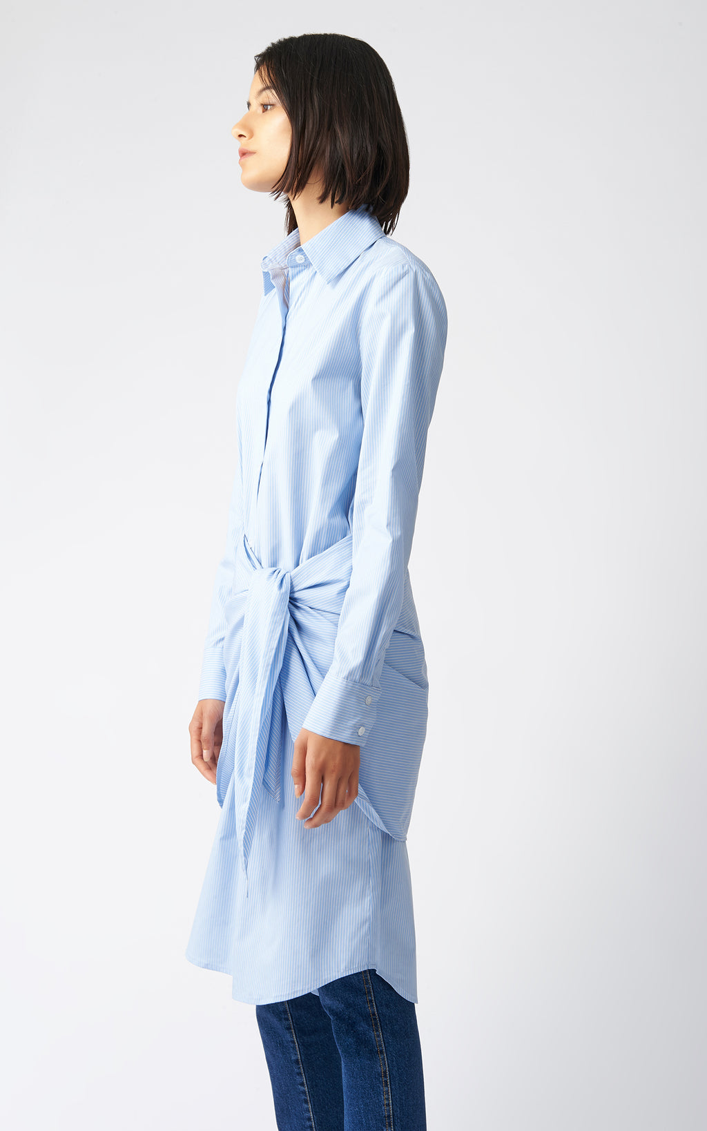 WRAP BOTTOM SHIRT DRESS - MINI STRIPE