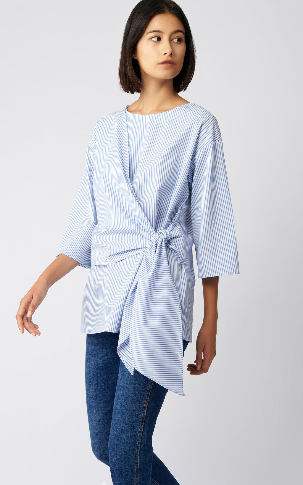 TIE FRONT TUNIC - DOUBLE STRIPE