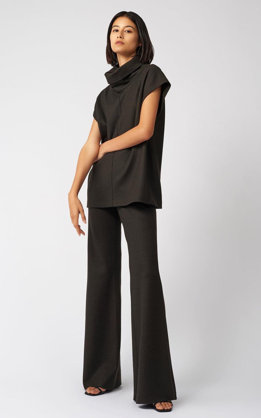 FELTED JERSEY WIDE LEG PANT