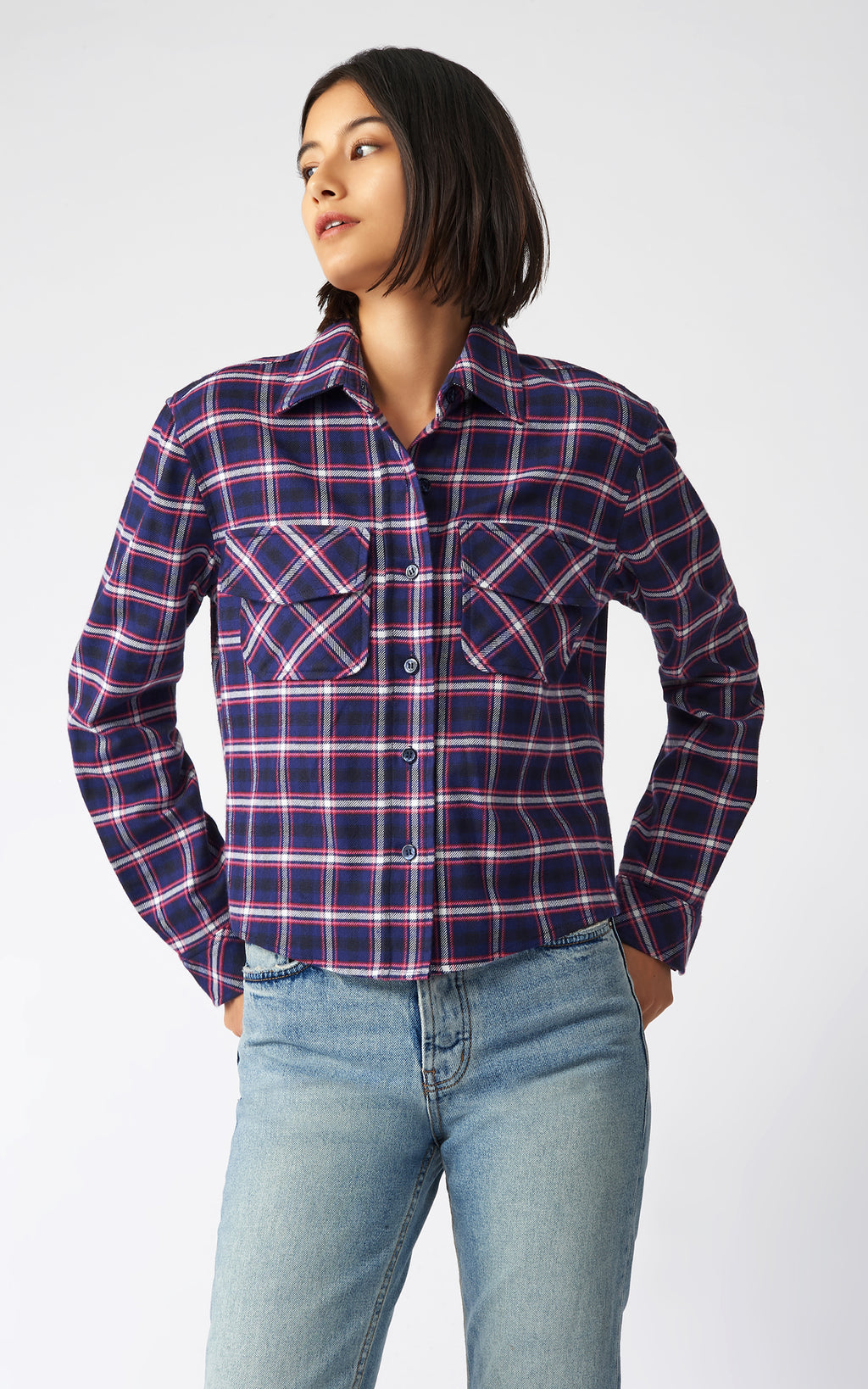 FLANNEL CROP TAILORED SHIRT JACKET