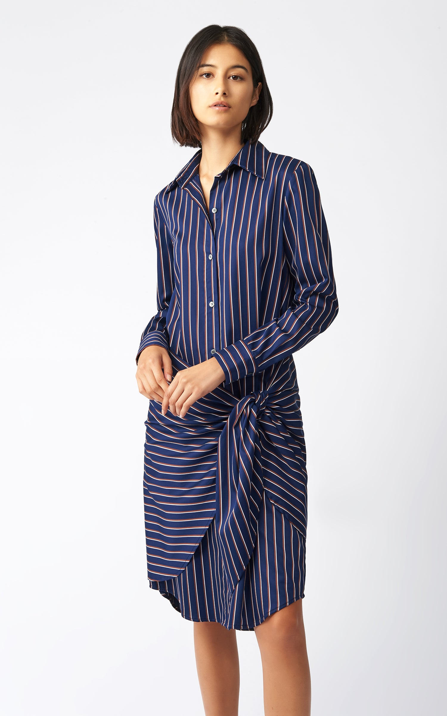 WRAP BOTTOM SHIRT DRESS