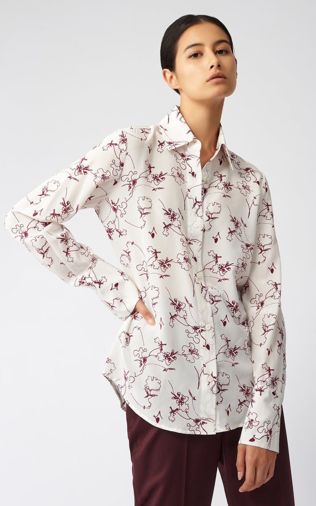 CLASSIC TAILORED BLOUSE - BORDEAUX FLORAL