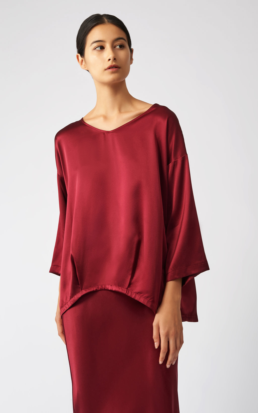 PLEAT HEM TUNIC - BORDEAUX