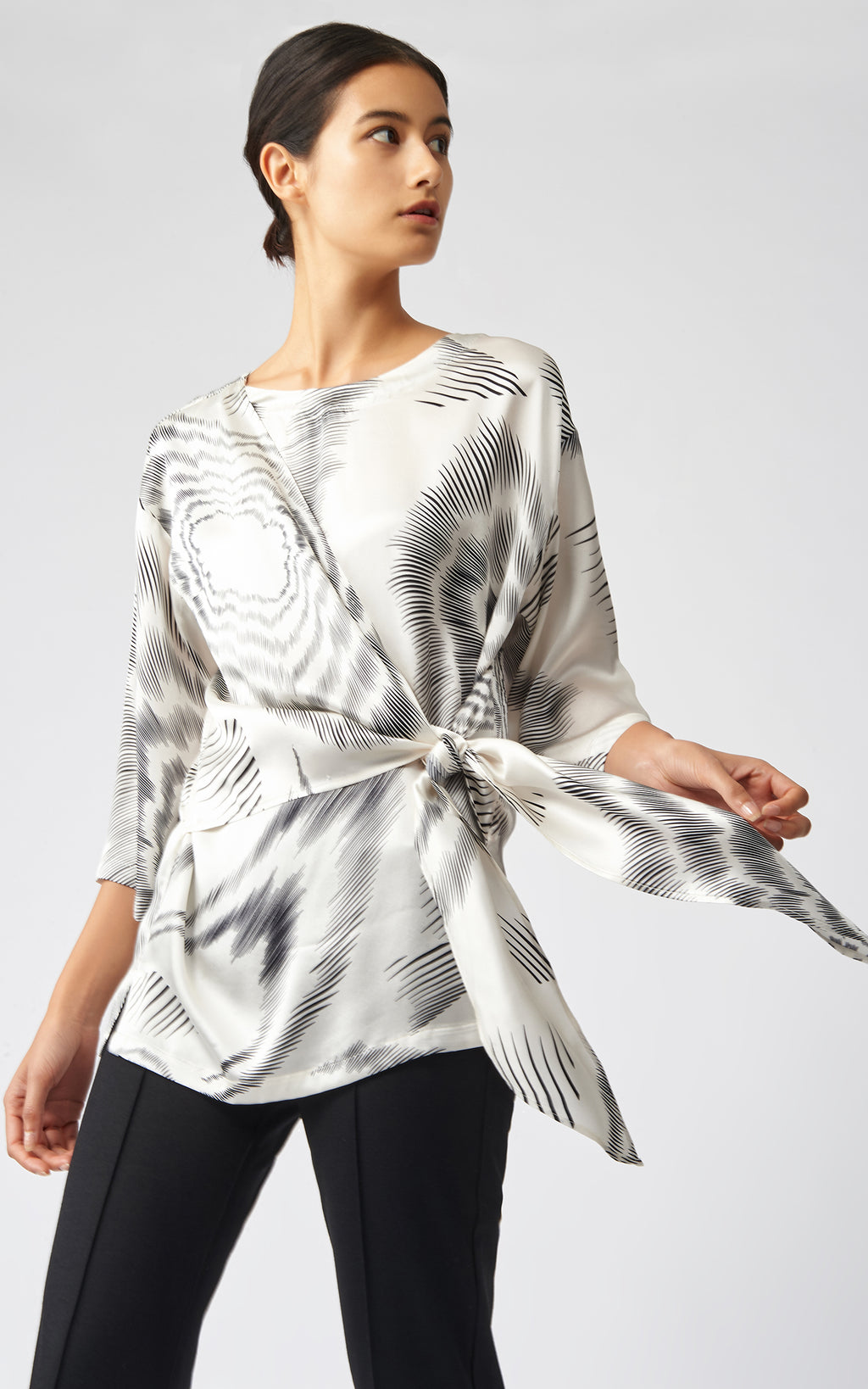 TIE FRONT TUNIC - ASTRA PRINT