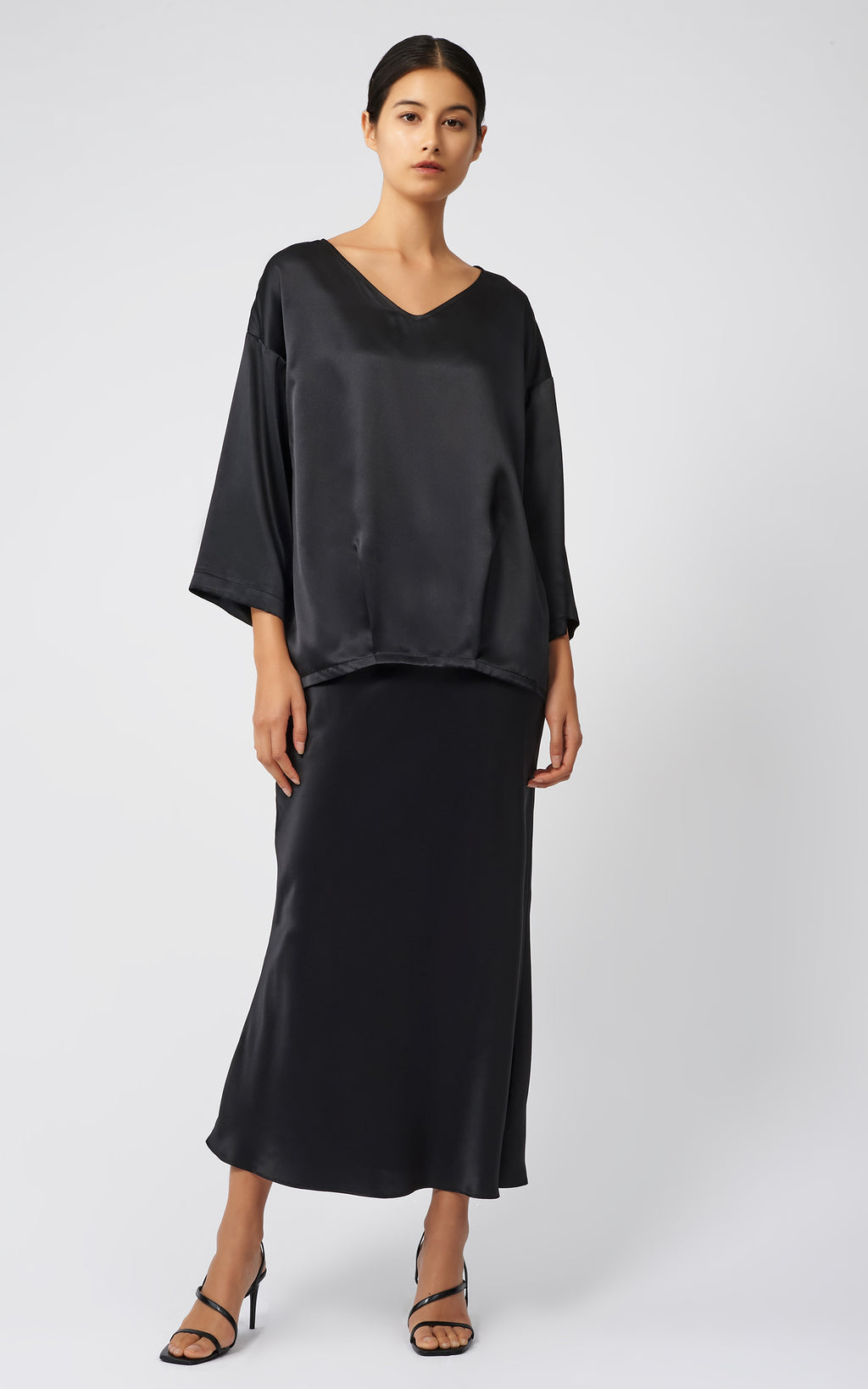 BIAS SILK SKIRT - BLACK