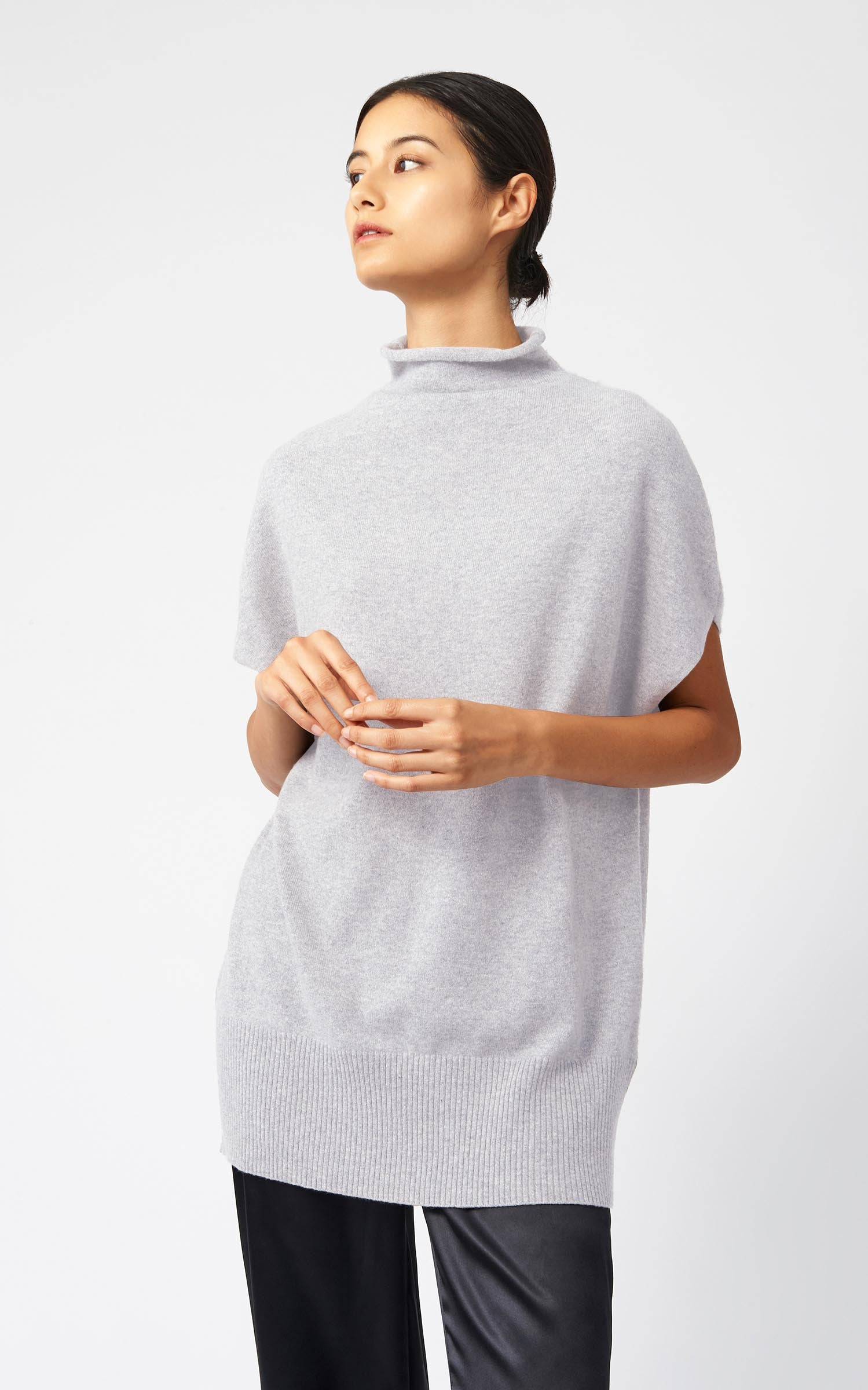 CASHMERE FUNNELNECK - GREY HEATHER