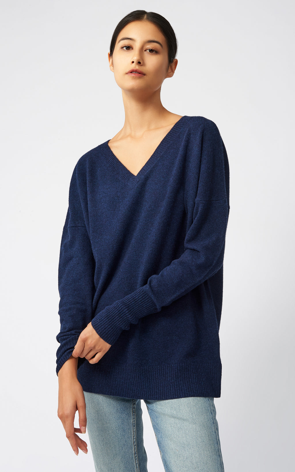 CASHMERE V NECK - NAVY
