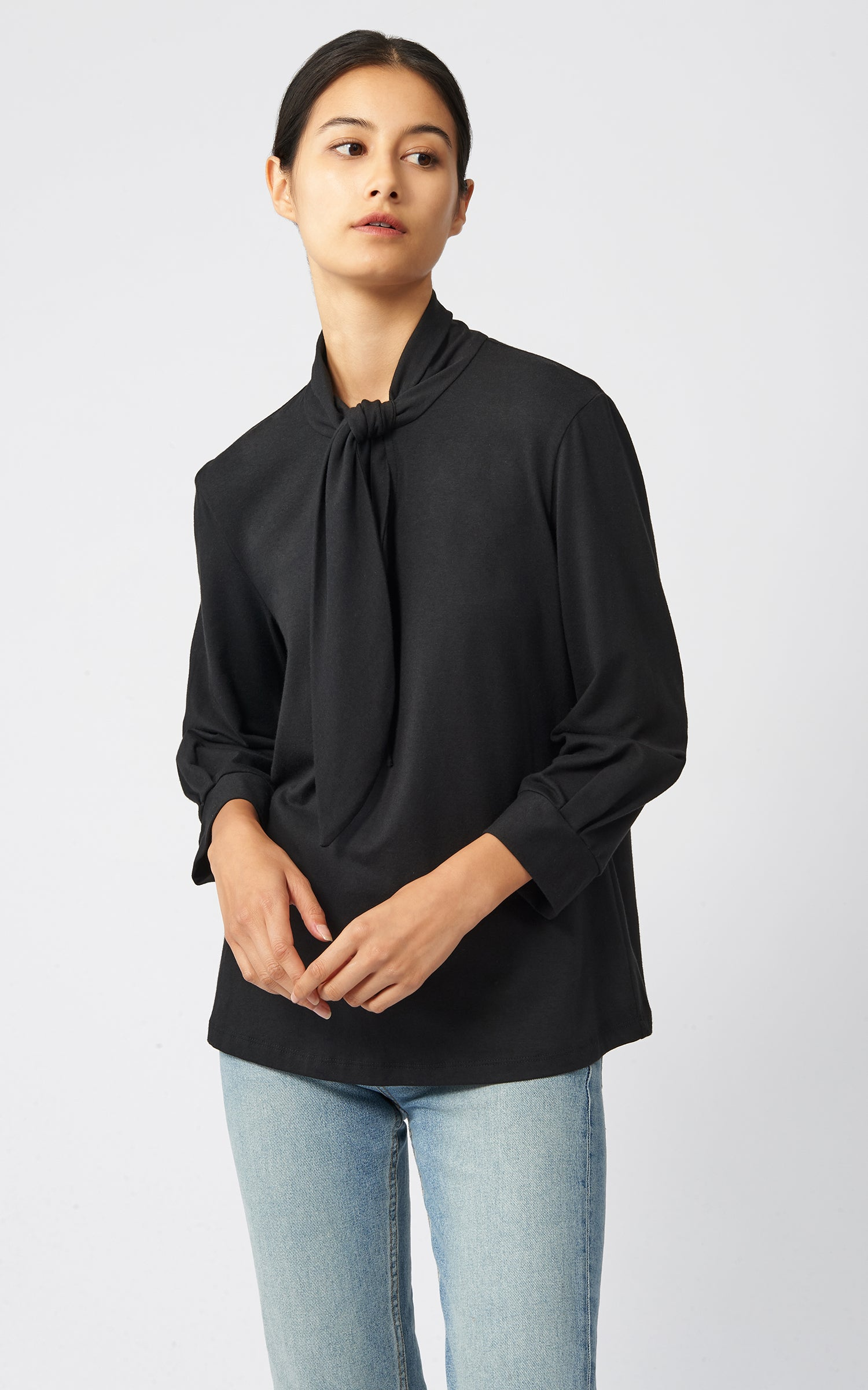 TIE NECK TOP - BLACK