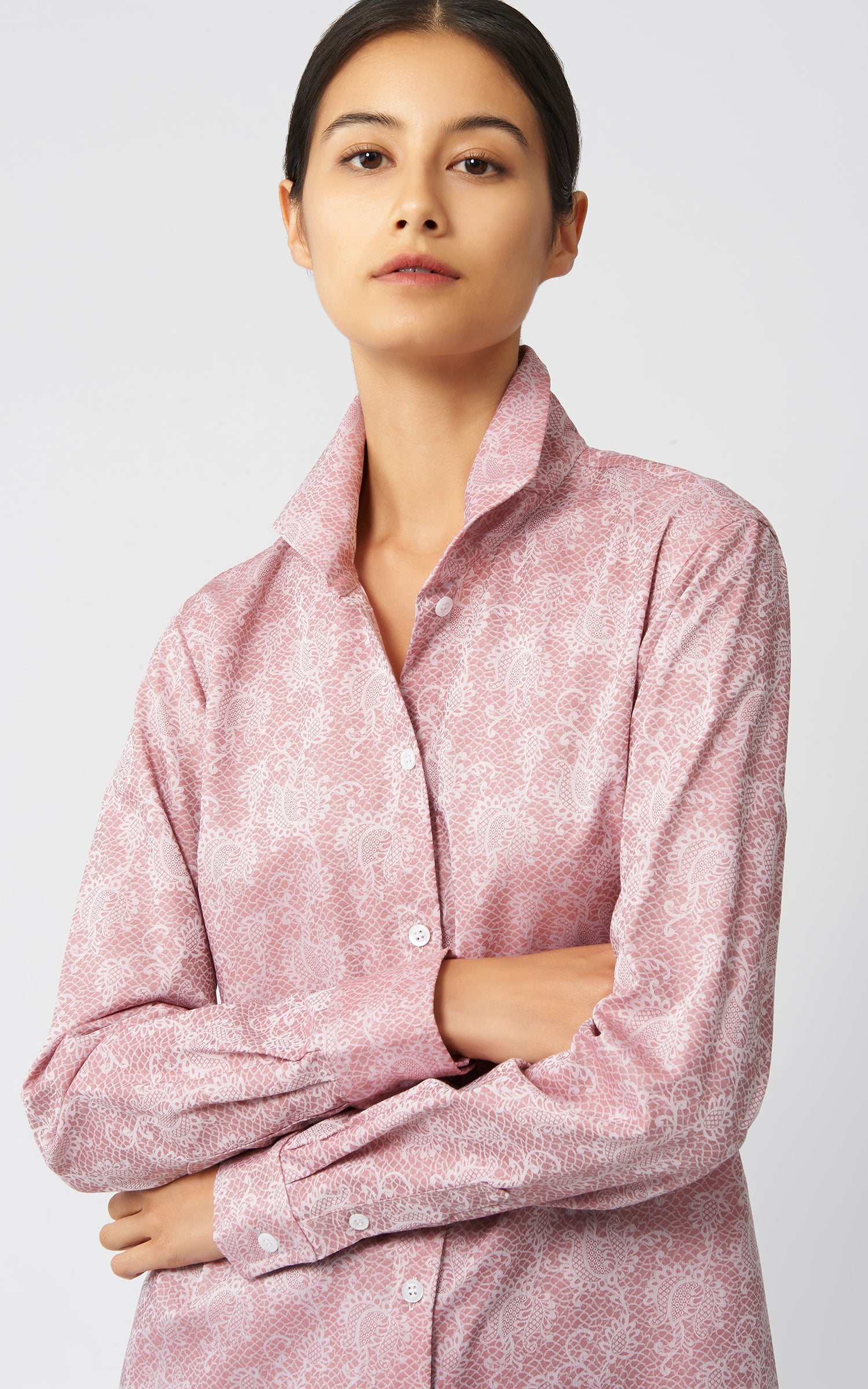 GINNA TAILORED SHIRT -  ROSE JACQUARD