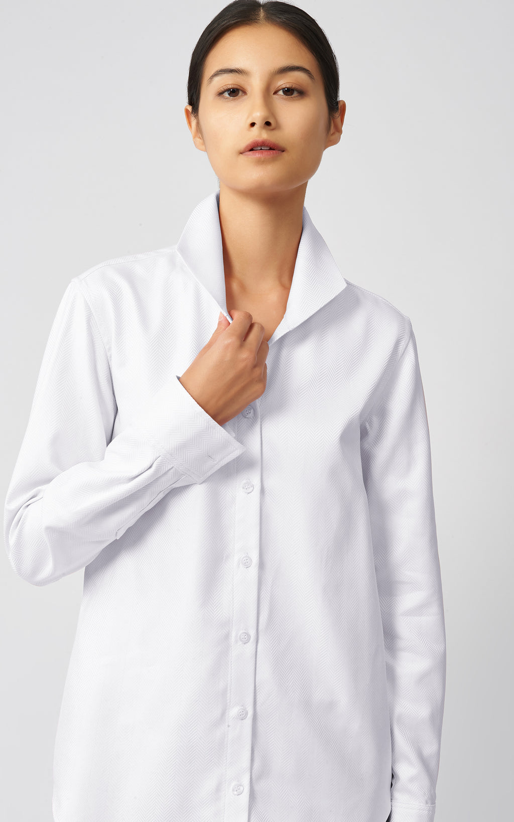GINNA TAILORED SHIRT - WHITE HERRINGBONE