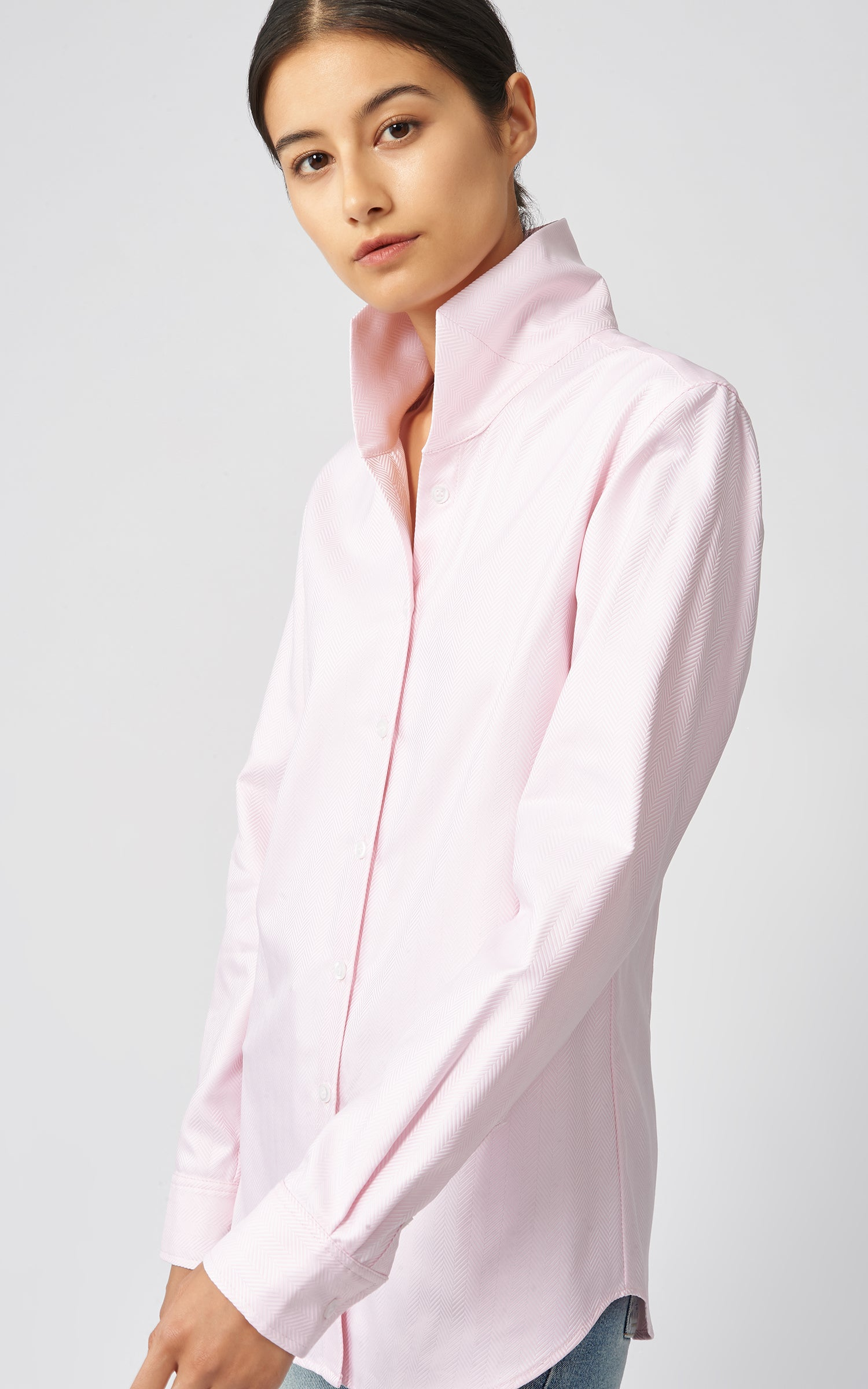 GINNA TAILORED SHIRT - PINK HERRINGBONE