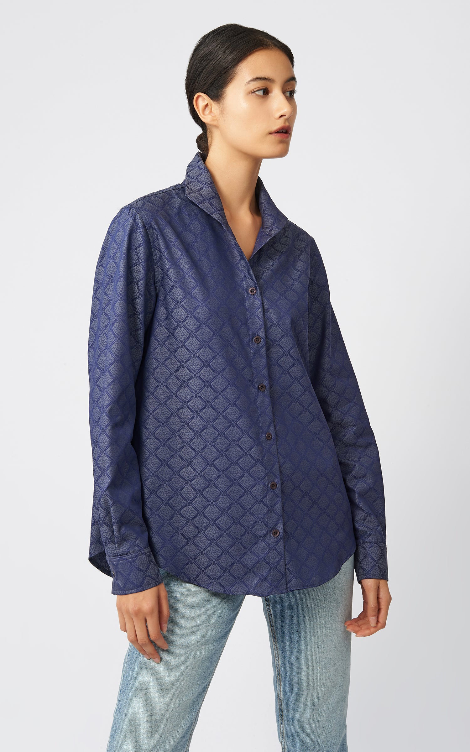 GINNA BOX PLEAT SHIRT - DENIM JACQUARD