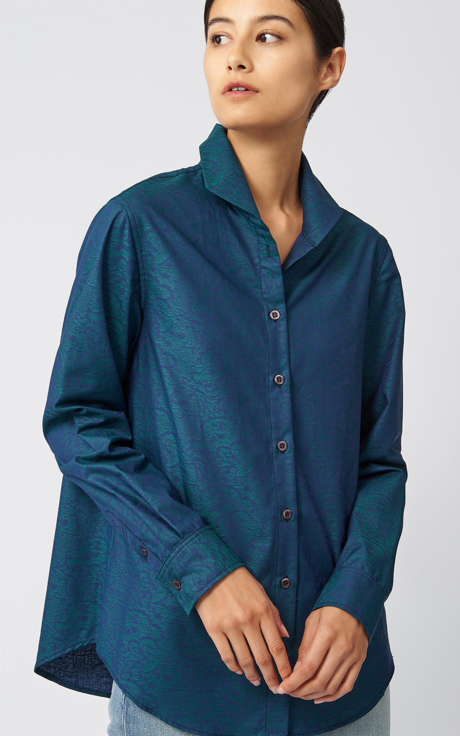 GINNA BOX PLEAT SHIRT - EMERALD JACQUARD