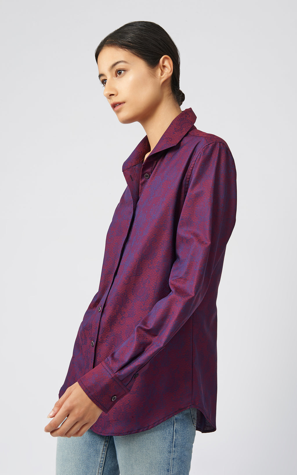 GINNA TAILORED SHIRT -  BORDEAUX JACQUARD