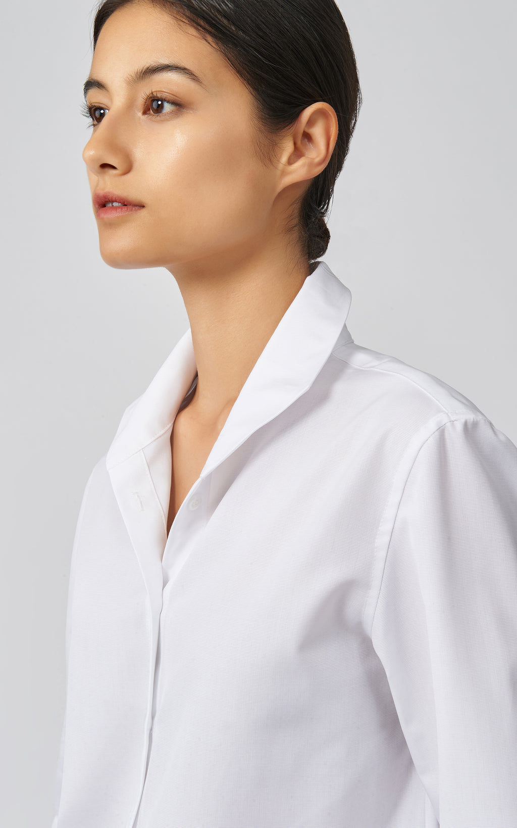 GINNA BOX PLEAT SHIRT - WHITE OTTOMAN
