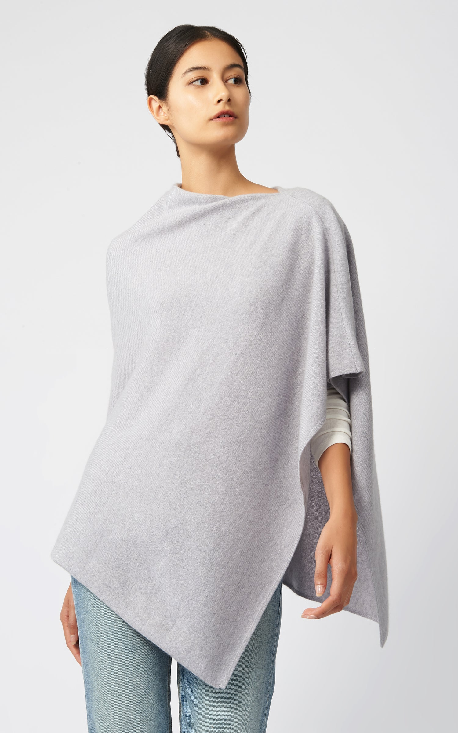 CASHMERE PONCHO - GREY HEATHER