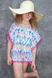 BLUE AND PINK GEOMETRIC POM-POM KAFTAN