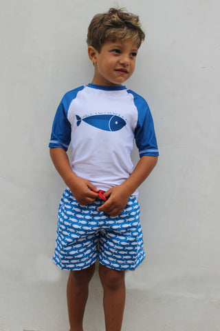 BOY'S FISH LINE SWIM SHORT - BLUE