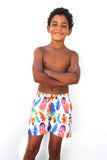 BOY'S DANCING FEATHER SWIM SHORT - WHITE