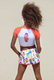 DANCING FEATHERS SHORT - ORANGE & WHITE