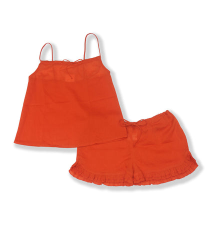 Cotton Short Set-Orange