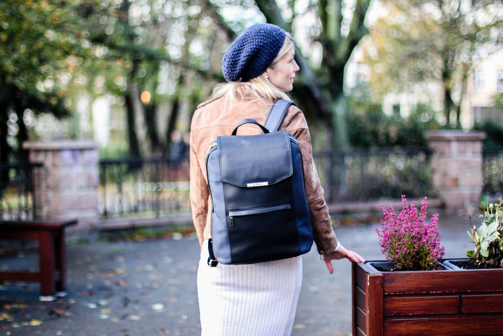 Simone in P.MAI navy professional leather laptop backpack