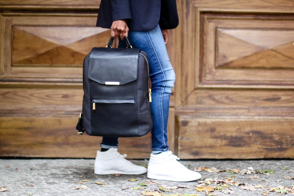 Aja Edmond with P.MAI women's black leather laptop computer work professional backpack purse luxury designer that's comfortable and stylish and ideal for travel, school, work, and life
