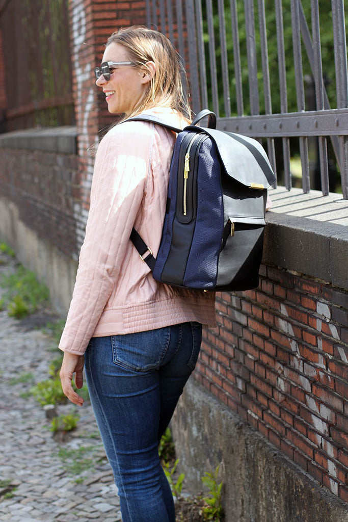 P.MAI women's stylish laptop backpack for women on Amber Riedl